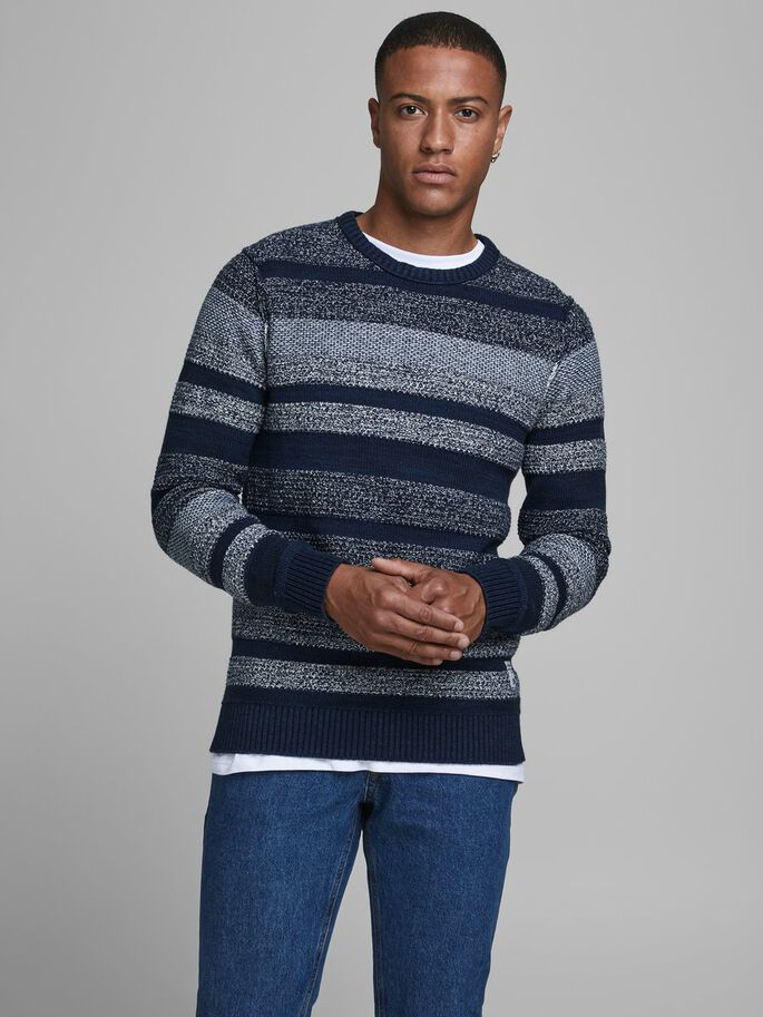 Marlon Navy 2 Crew Neck Stripe Men's Jumper
