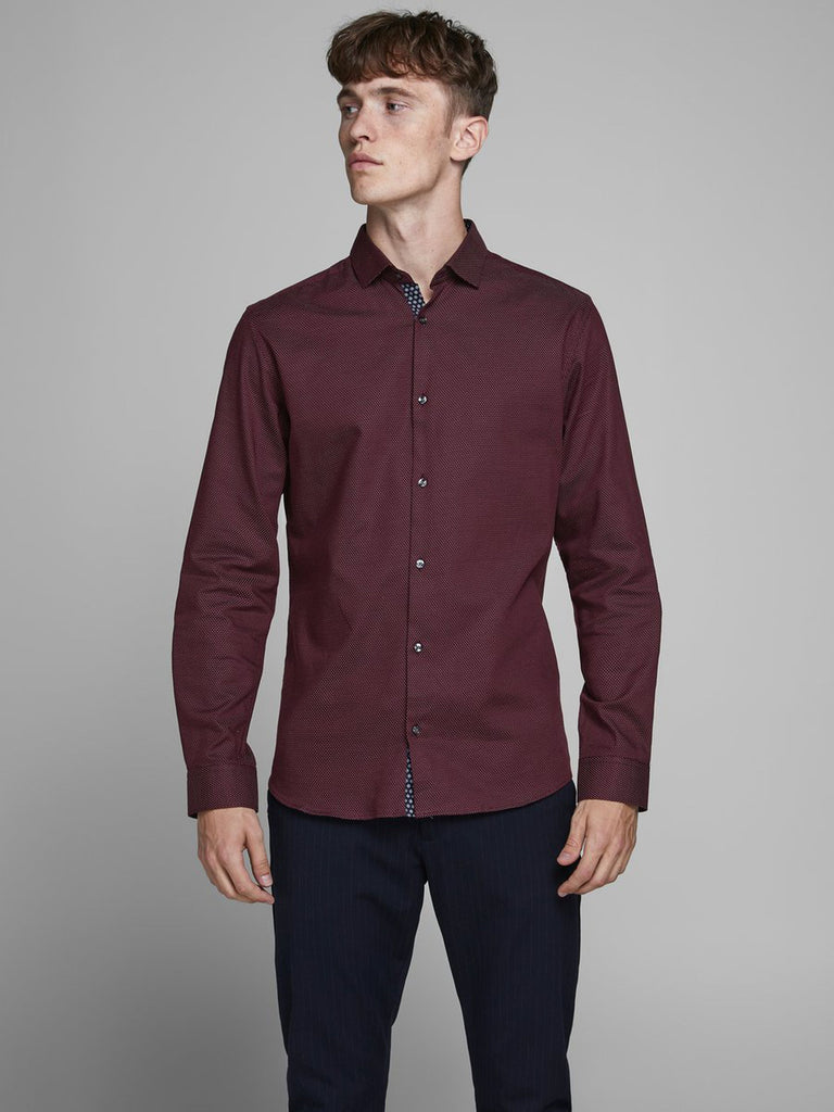 Men's Occasion Slim Fit Red Mahogany Dobby Shirt
