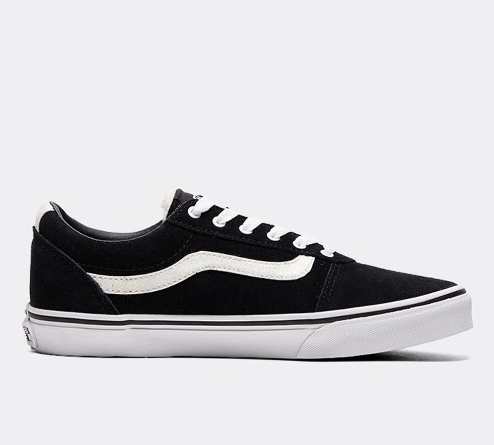 Youths Black with White Ward Trainer by Vans