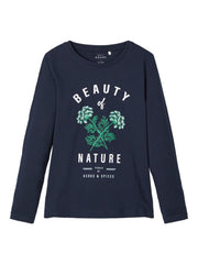 Printed Long-sleeved Vix 2020 girls Navy T-shirt age 5 to 12 years by Name It