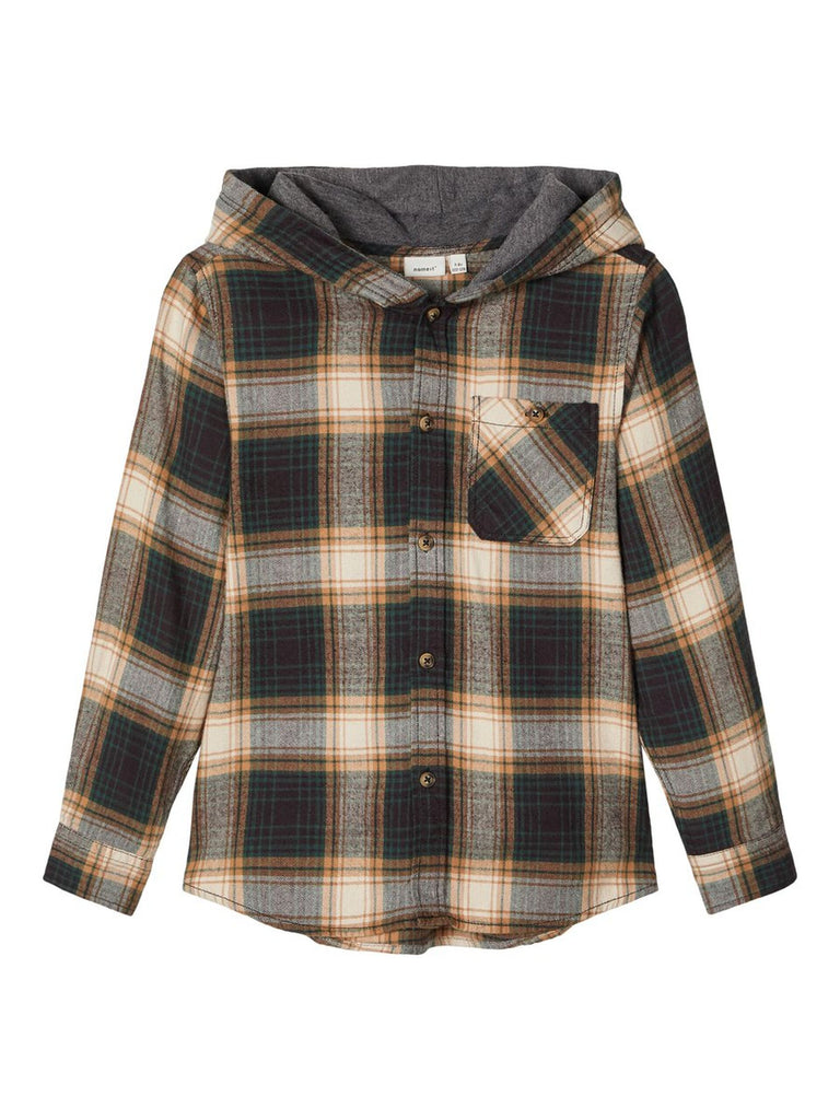 Street Brown Hooded Checked Boys Shirt age 5 to 12 years by Name It.