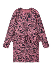 Vilmina Leopard Printed Pink Cotton Dress