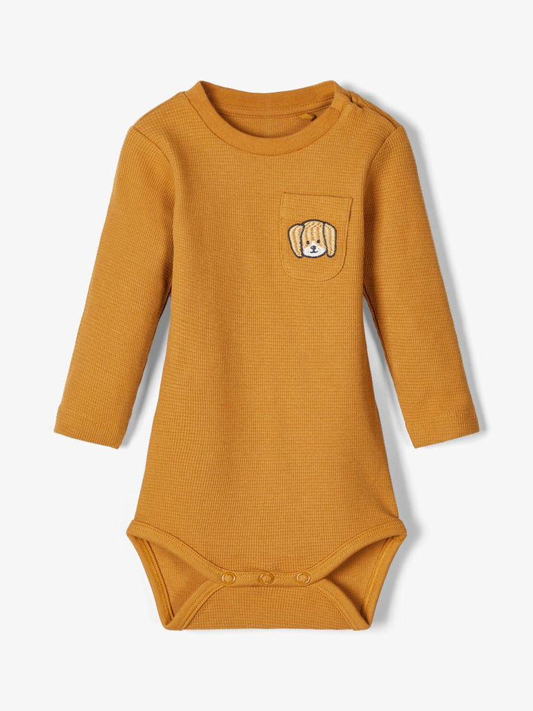 Embroidered Dog Binose Bodysuit Tan