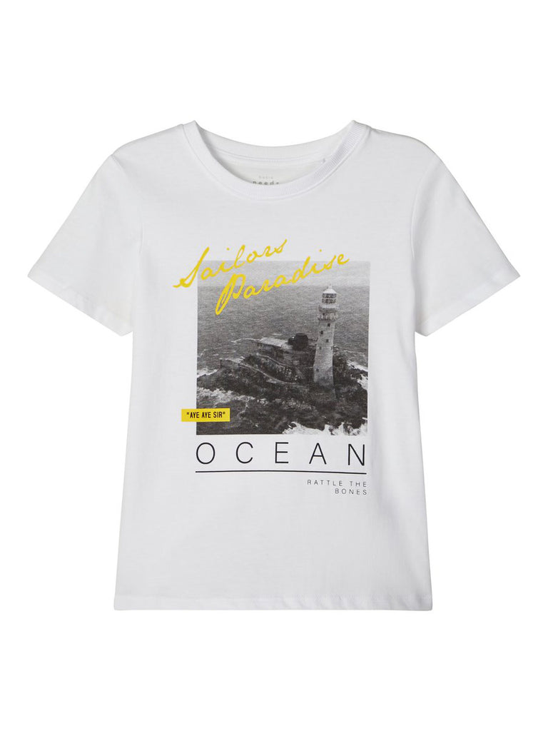 Printed Boys White T-shirt Victor K Feb 20 5 to 12 years by Name It.