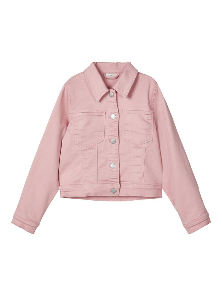 Fatinna Twill-woven Pink Jacket by Name It for girls age 5 to 12 years