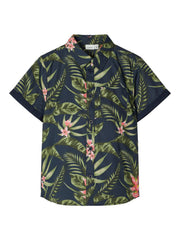 Findus Short-sleeved Kid Boy Navy Print Shirt