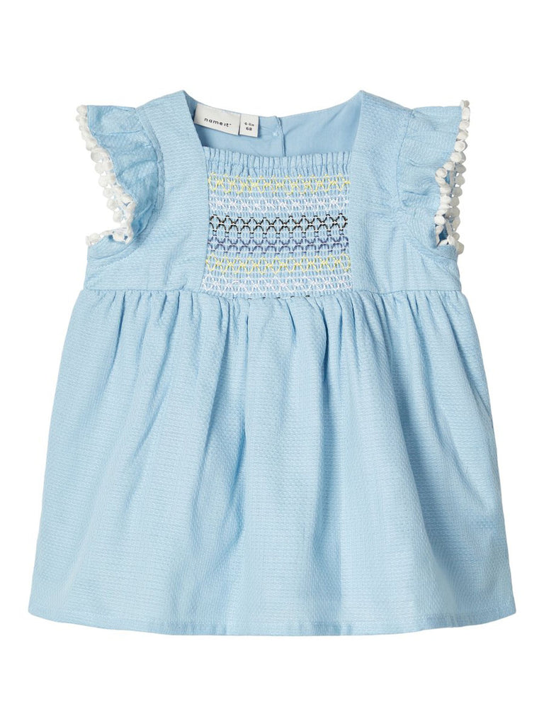 Falka Newborn Girls Blue Cotton Dress