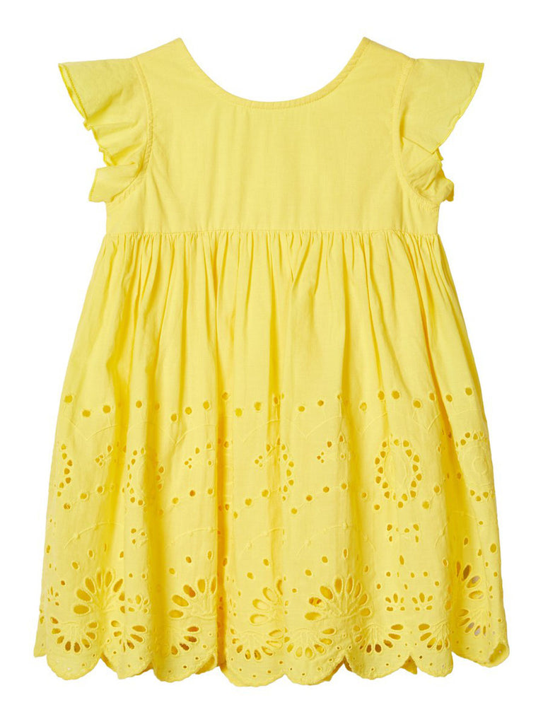 Broderie Anglaise Felicity Dress Yellow- Front