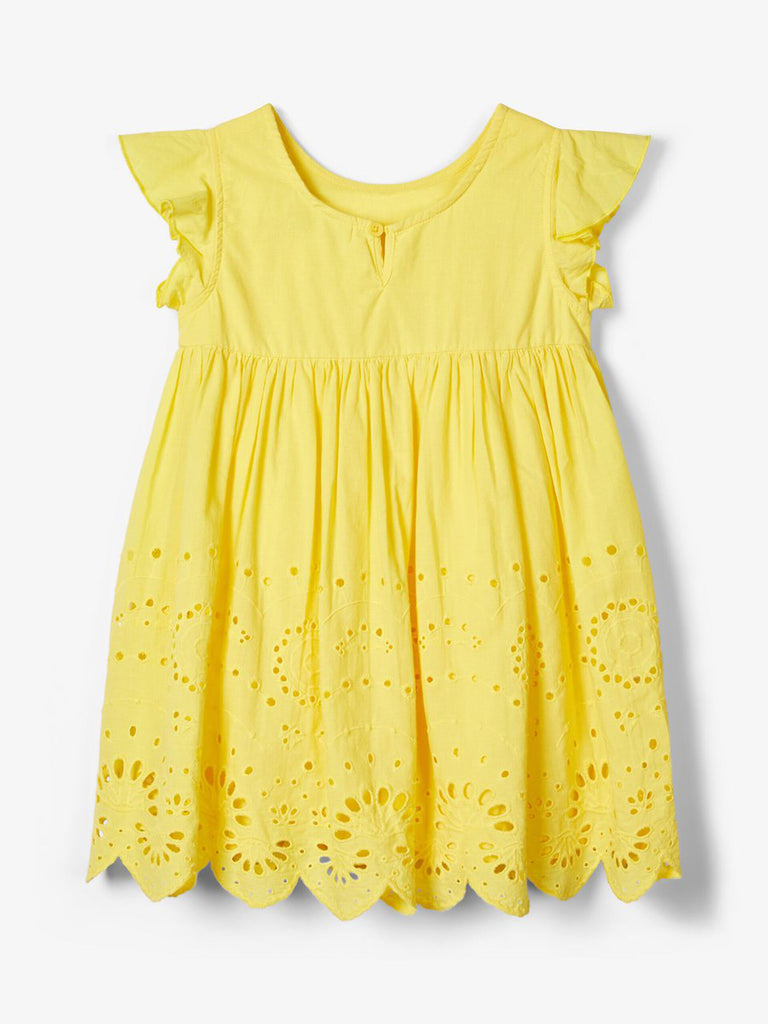 Broderie Anglaise Felicity Dress Yellow- Back