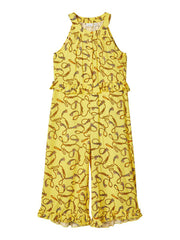 Florine K Printed Lightweight woven viscose Yellow jumpsuit by Name It for girls age 5 to 12 years
