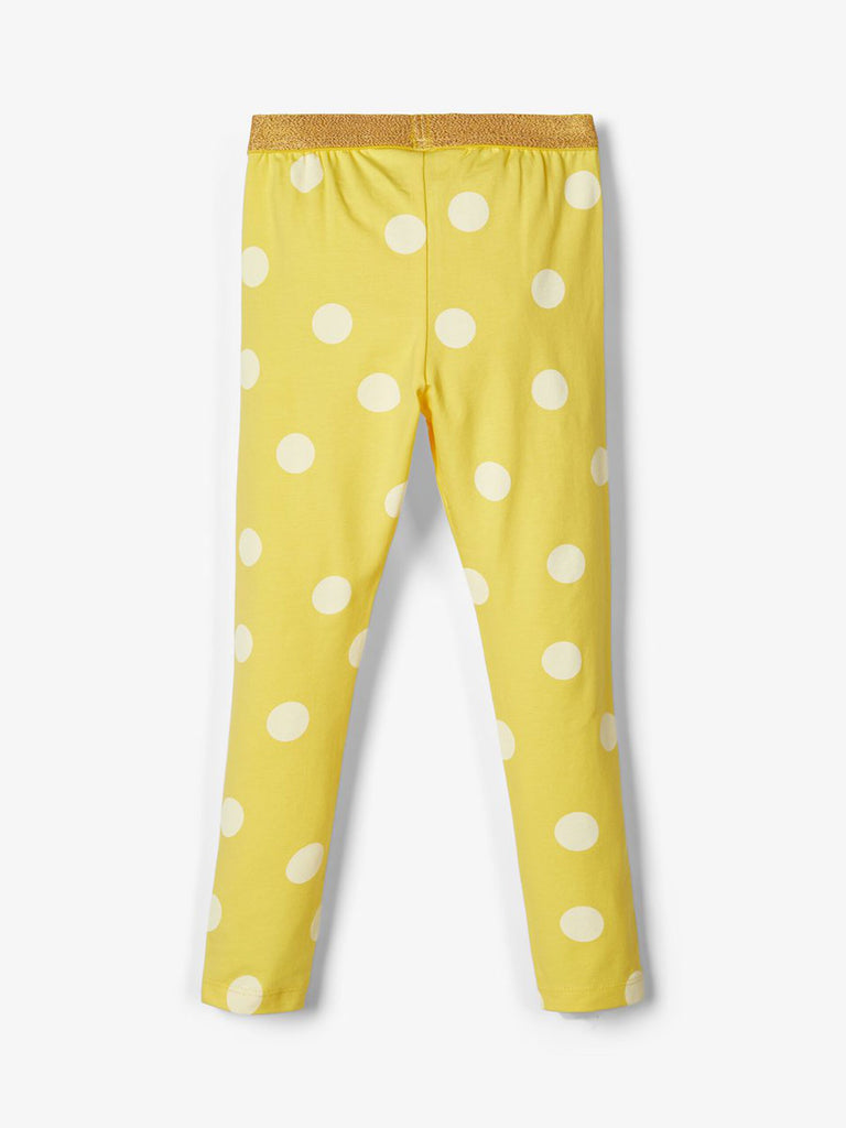 Patterned Cotton Dalla Legging Yellow -back