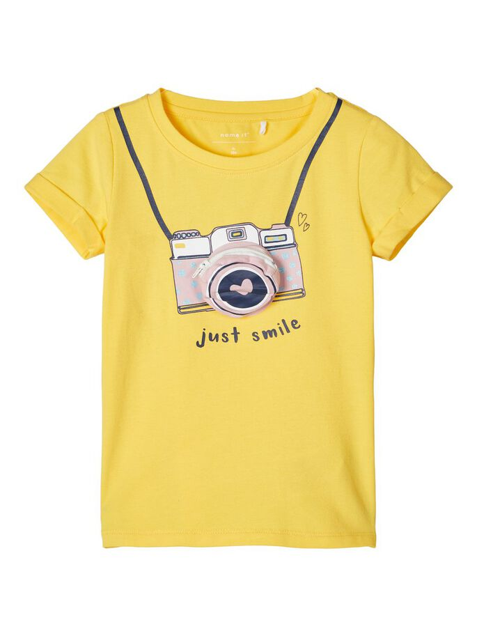 Embellished Fadina Yellow Girls Short Sleeve T-shirt