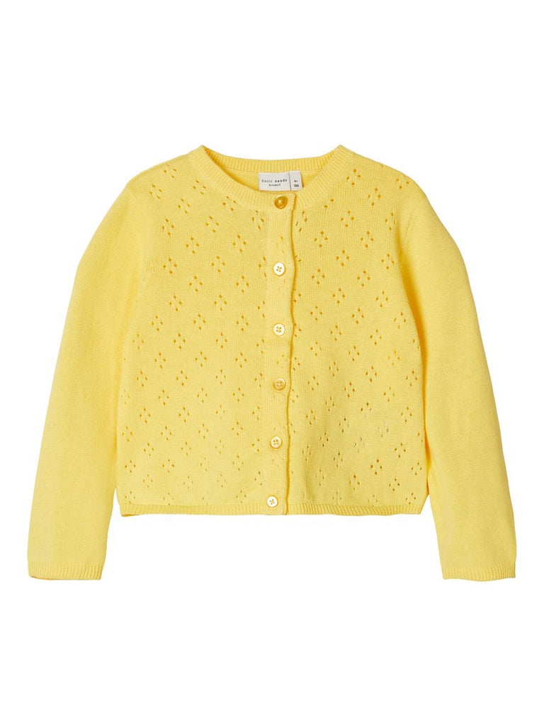 Perforated Knit Vrilma Cardigan Yellow