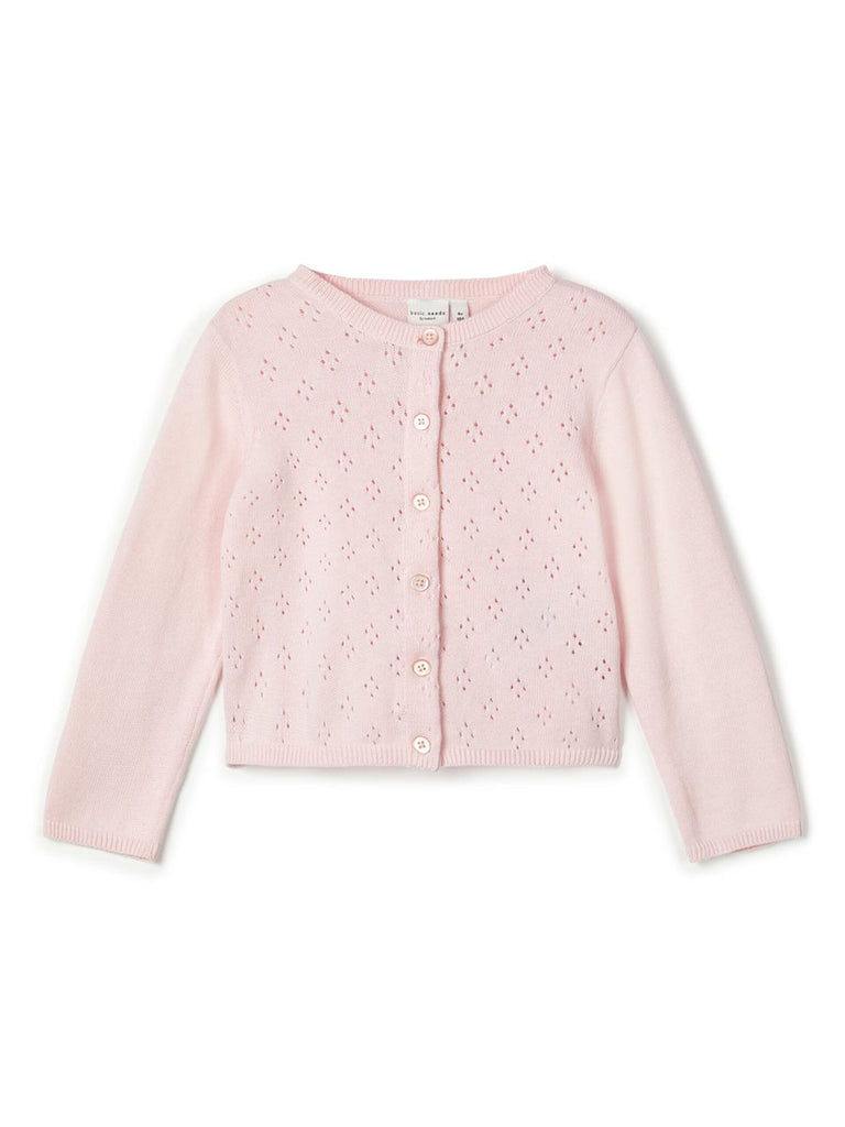 Perforated Knit Vrilma Cardigan pink