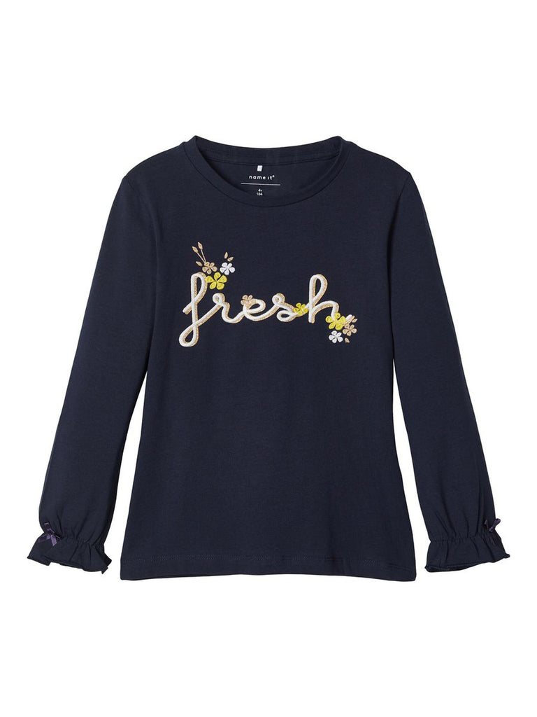 Embroidered Long Sleeved Dagnelle Top Navy