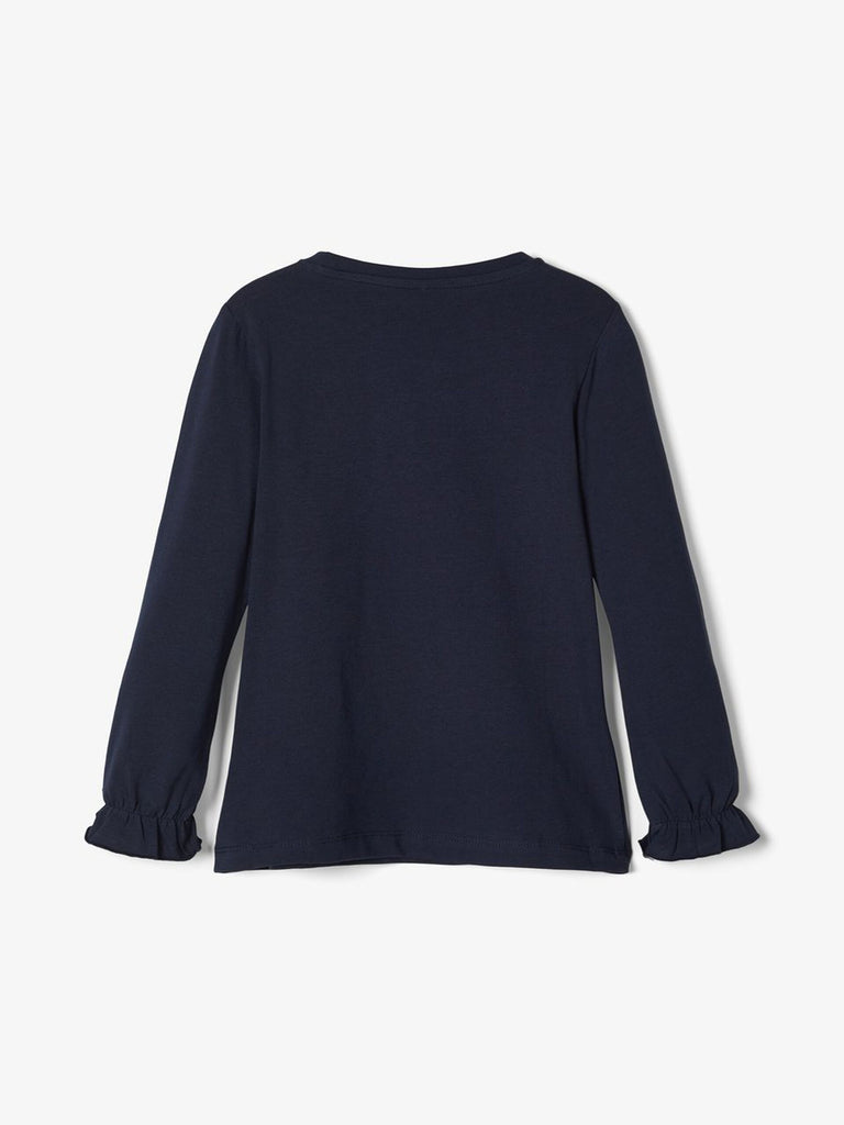 Embroidered Long Sleeved Dagnelle Top Navy_back