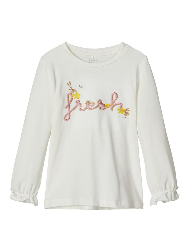 Embroidered Long Sleeved Dagnelle Top white
