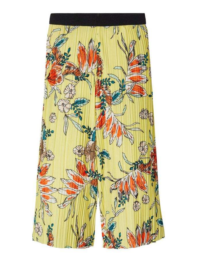 Pleated Floral Print Ankle Trousers yellow