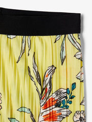 Pleated Floral Print Ankle Trousers yellow close