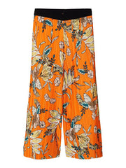 Pleated Floral Print Ankle Trousers orange