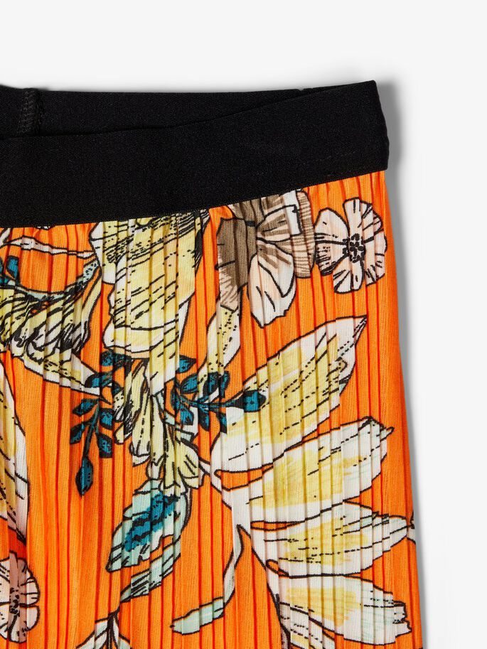 Pleated Floral Print Ankle Trousers orange _close