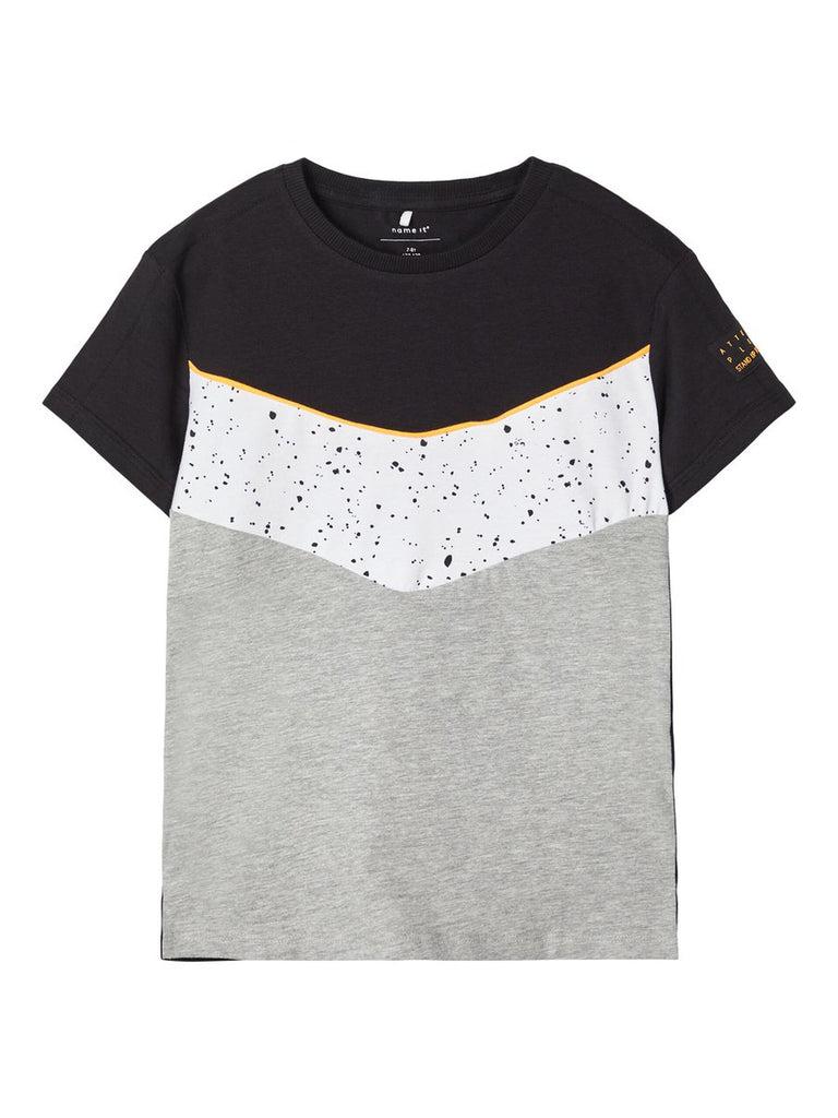 Fhip Colour Block  Short Sleeve Grey T-shirt
