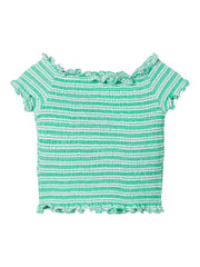 Jolisa Cropped Green Smock Short Sleeve T-shirt