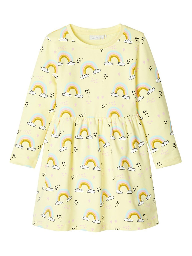 Rainbow Print Cotton Tilly Dress Yellow
