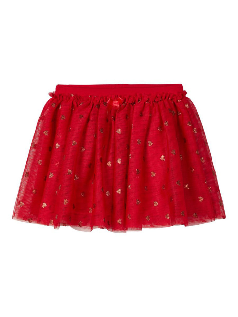 Rochris Heart Print Tulle Skirt red