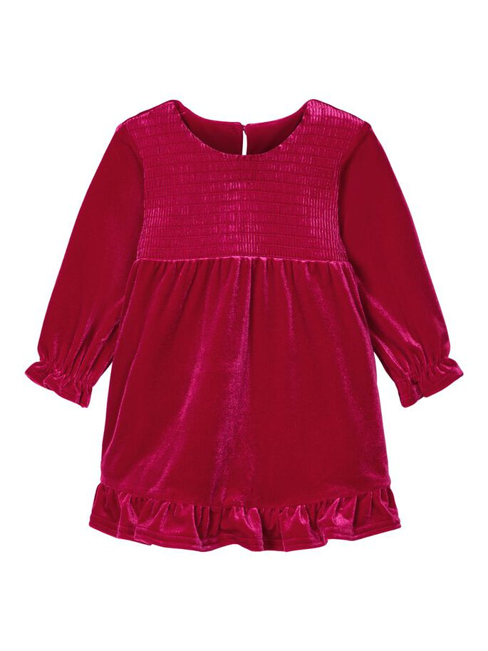 Newborn Girls Rowa Long-sleeved Velour Red Dress