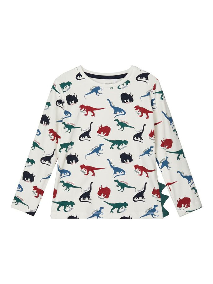 Ofun Dinosaur Long-sleeved T-shirt wht
