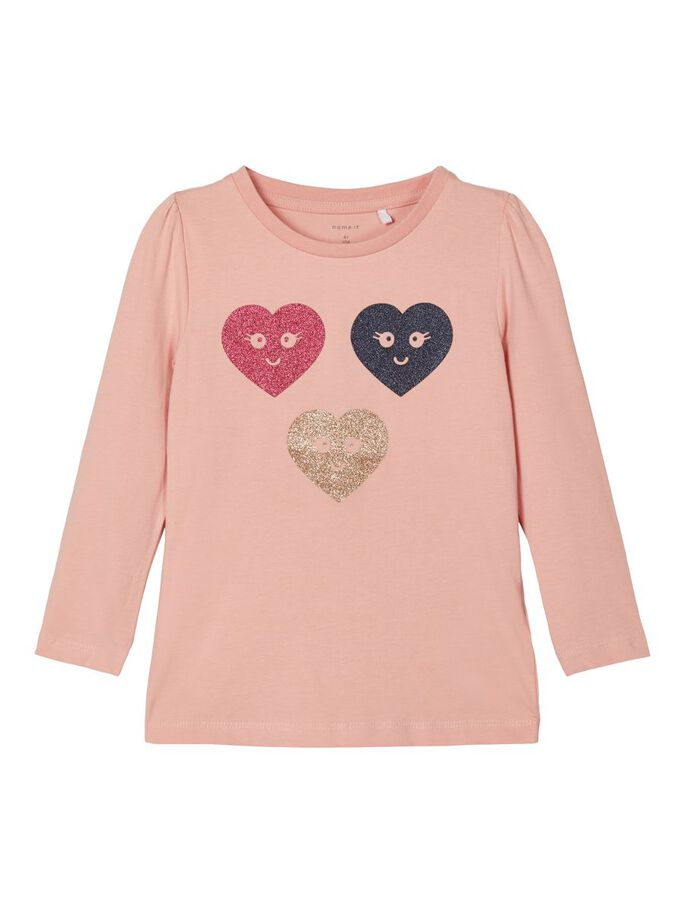 Omalina Heart Motif Long-sleeved T-shirt rose