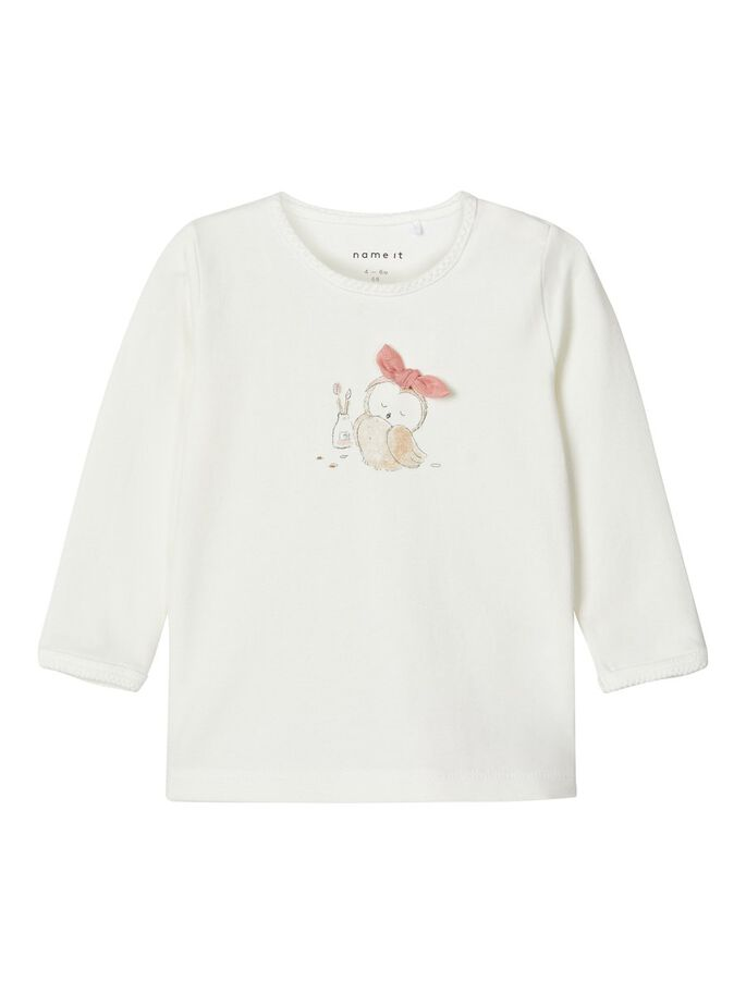 Naja Long Sleeve White Newborn Girls Top