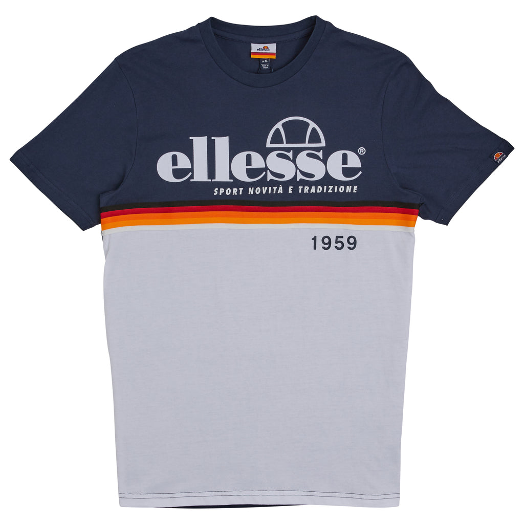 Ellesse Short Sleeve Navy and White Brescia Panel tee.