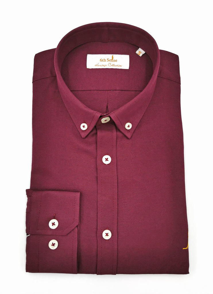 6th Sense Heritage Oxford Wine Shirt
