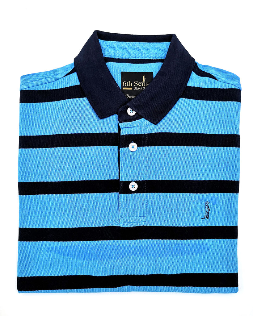 Yacht Stripe Blue & Navy Polo