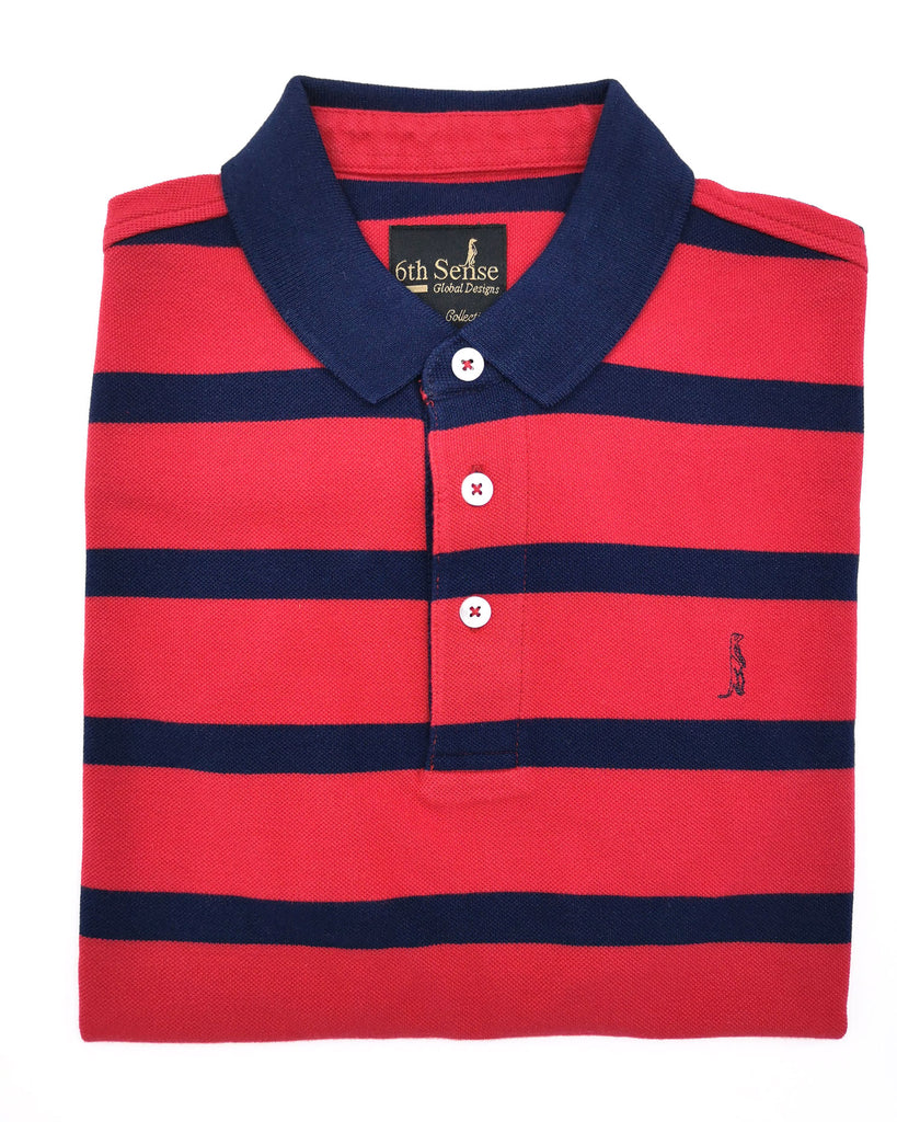 Yacht Stripe Red & Navy Polo