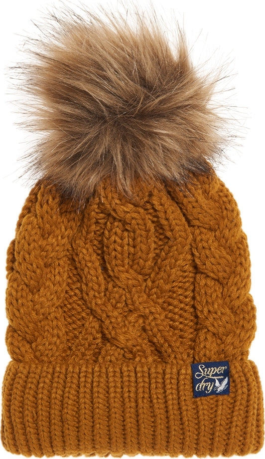 Superdry Ladies Arizona Mustard Cable Beanie