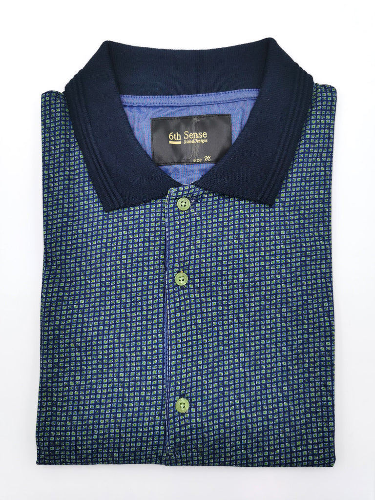 Knitted Polo Green/Navy