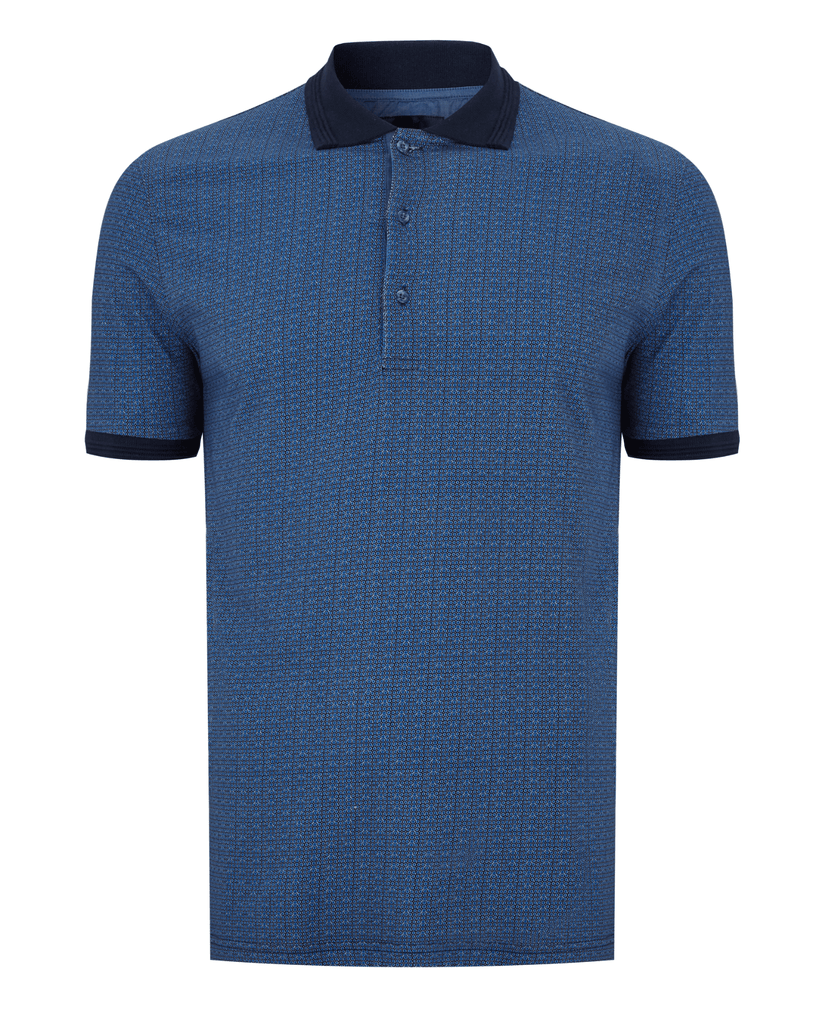 Men's 6th Sense Knitted Blue Polo Short Sleeve