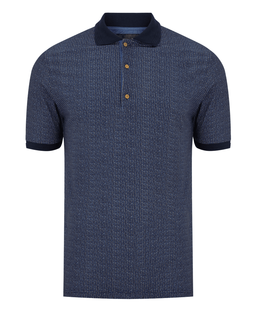 Men's 6th Sense Short Sleeve Knitted Polo Navy/Mustard