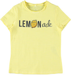 Delilah Kid girl beautiful striped short-sleeved yellow t-shirt for girls by NAME IT