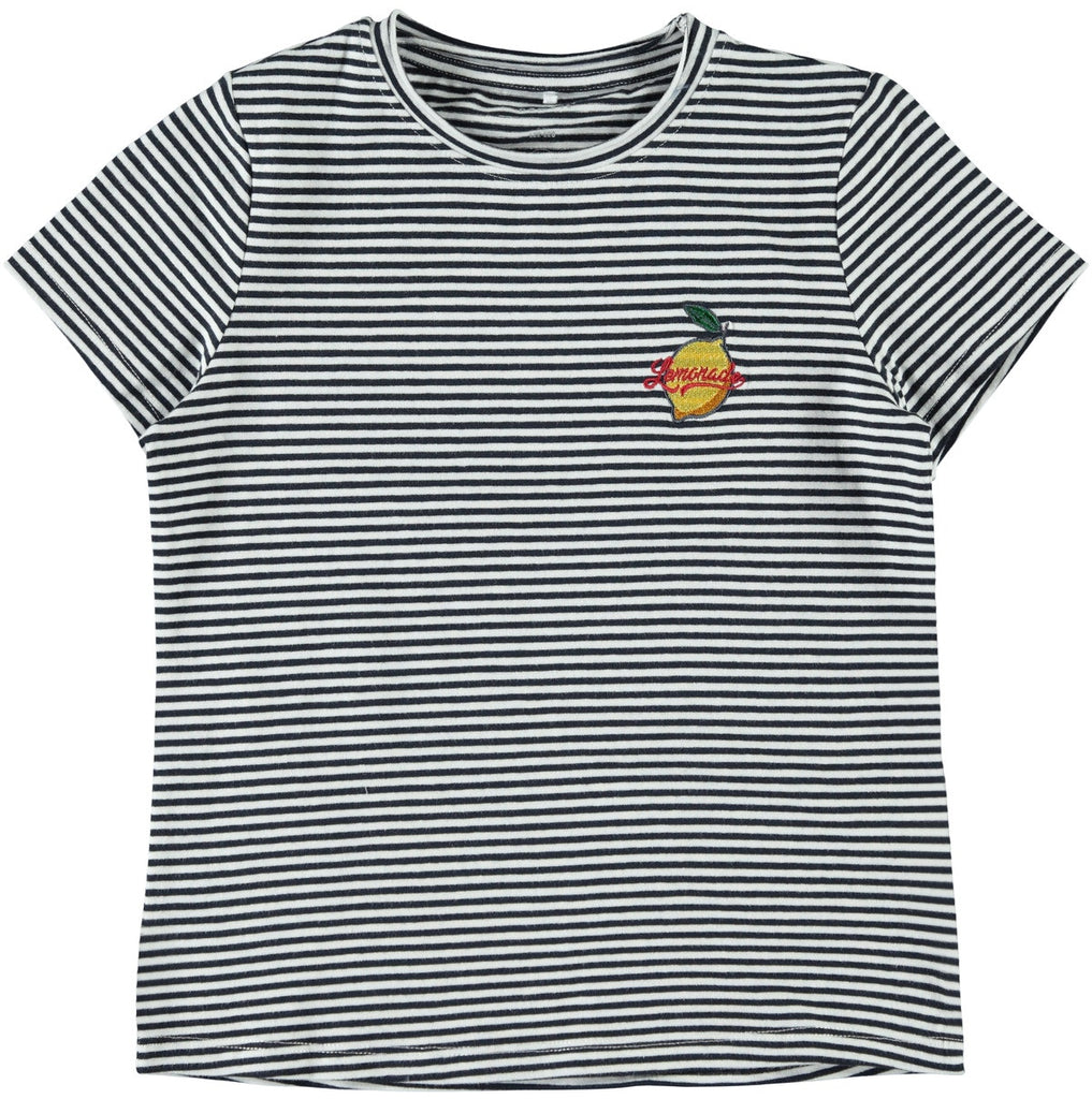 Delilah Kid girl beautiful striped short-sleeved navy t-shirt for girls by NAME IT