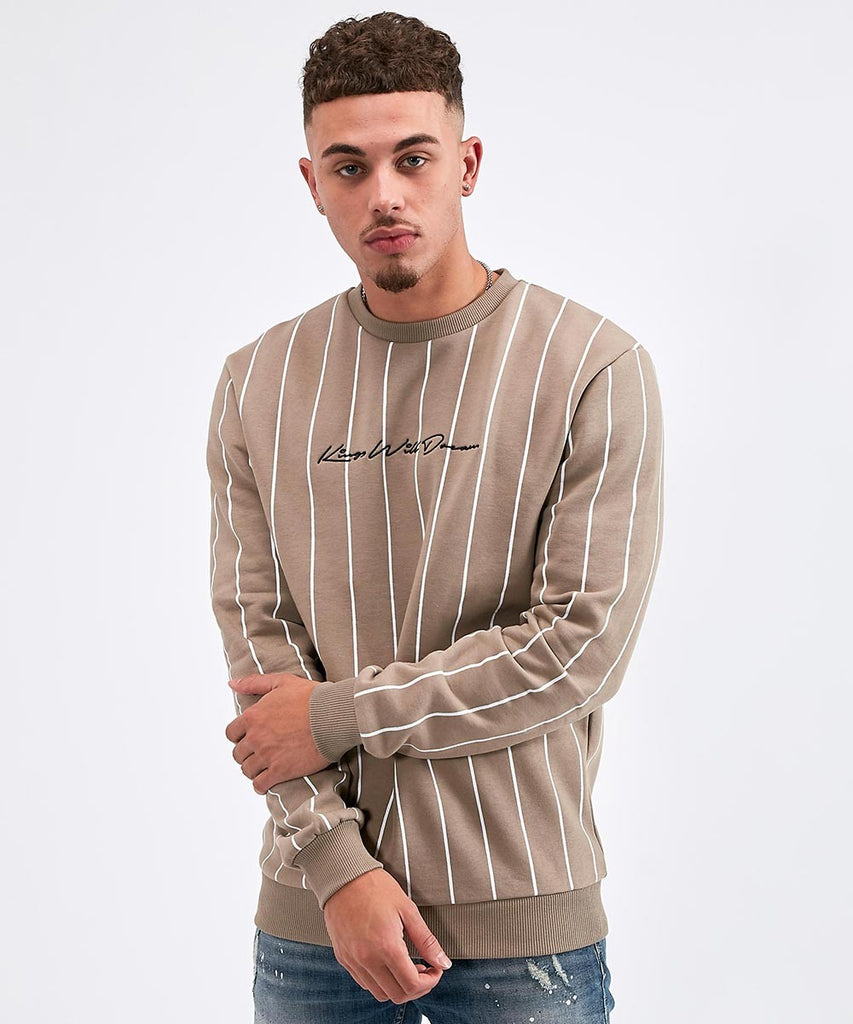 Clifton Pinstripe Sand Crew Neck Sweat