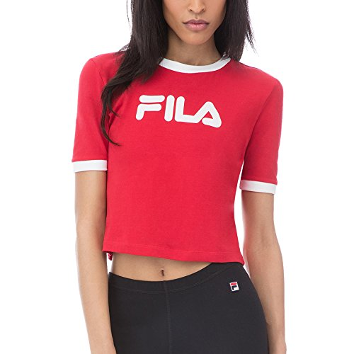 Tionne Red/White Crop Tee