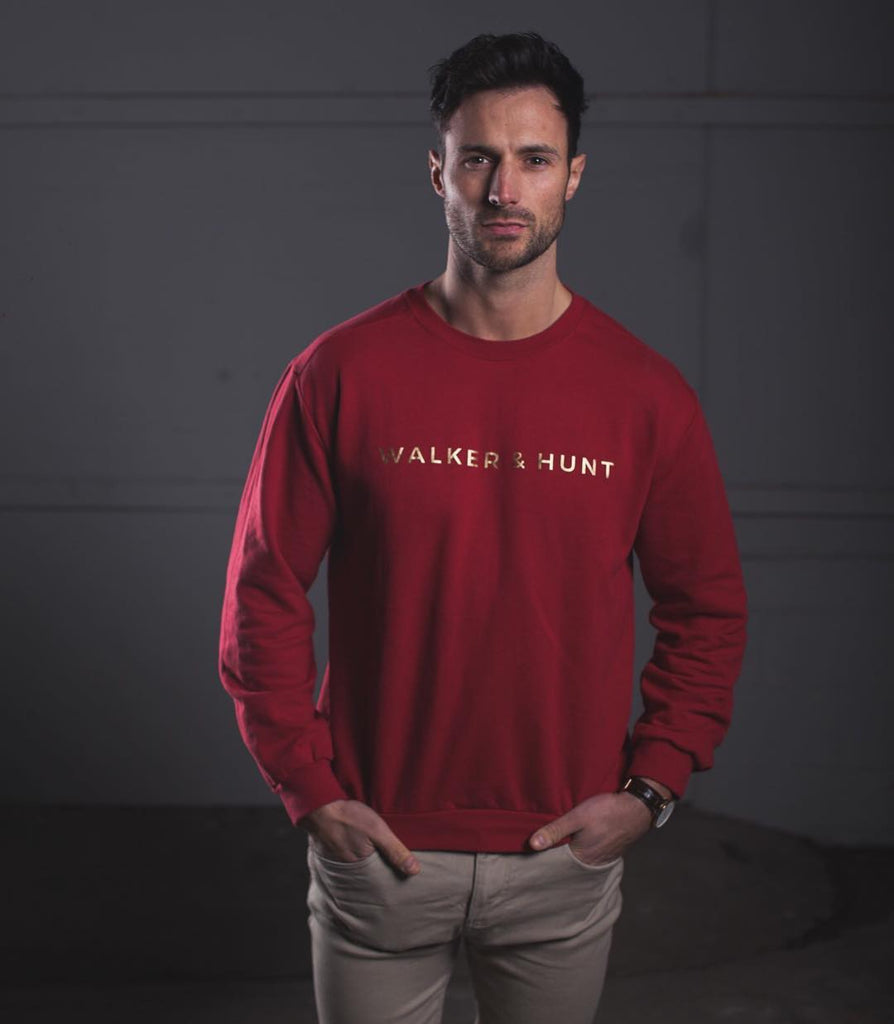 Burgundy Crew Sweat by Walker & Hunt