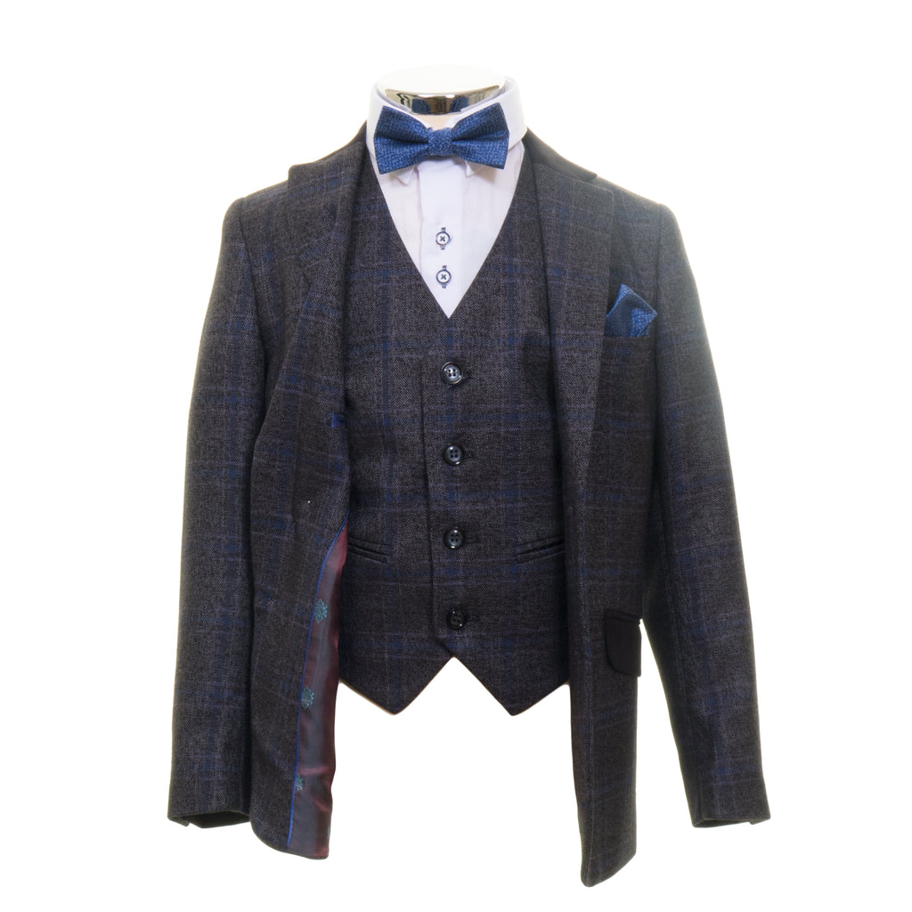 Grey With Blue Checks Boys Suit By Romano
