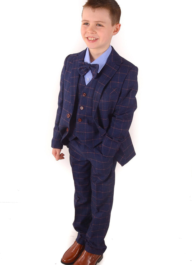 Romano Blue Check 3 Piece Boys Suit