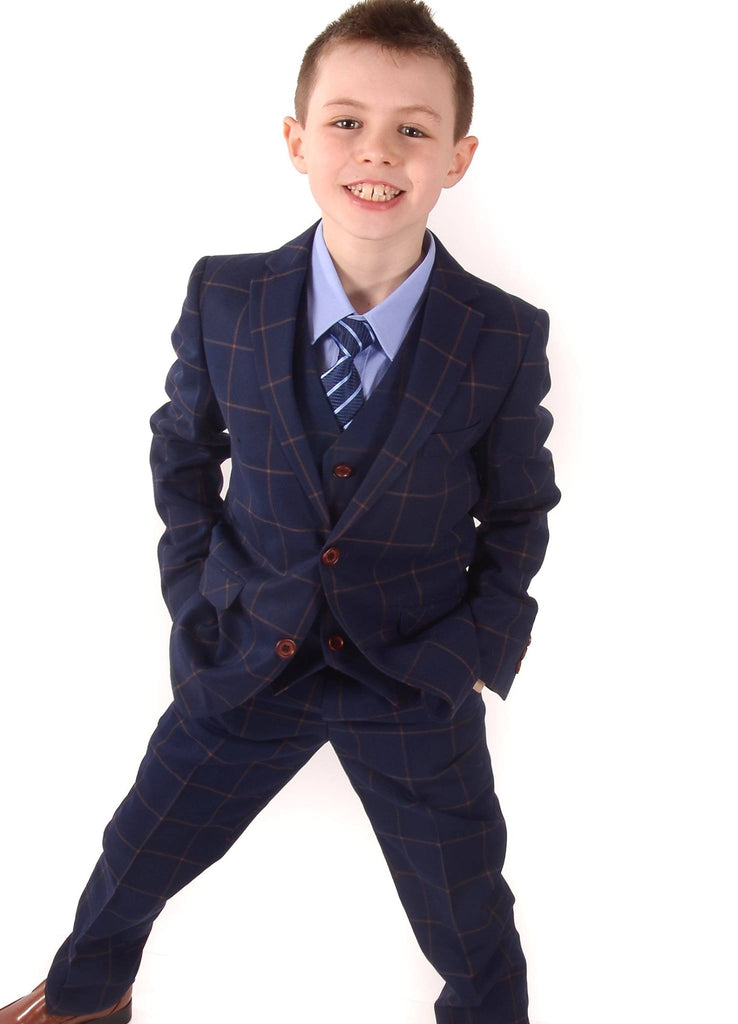 Romano Navy Check 3 Piece Boys Suit