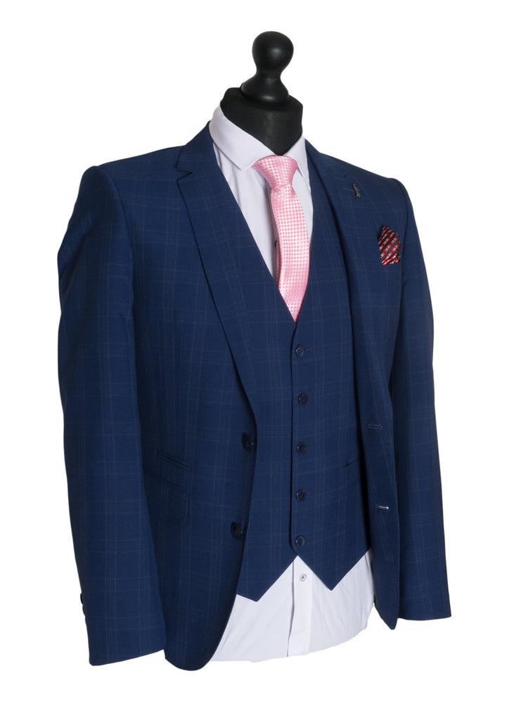 Tapered Fit Navy Check Suit By 6Th Sense Global Designs